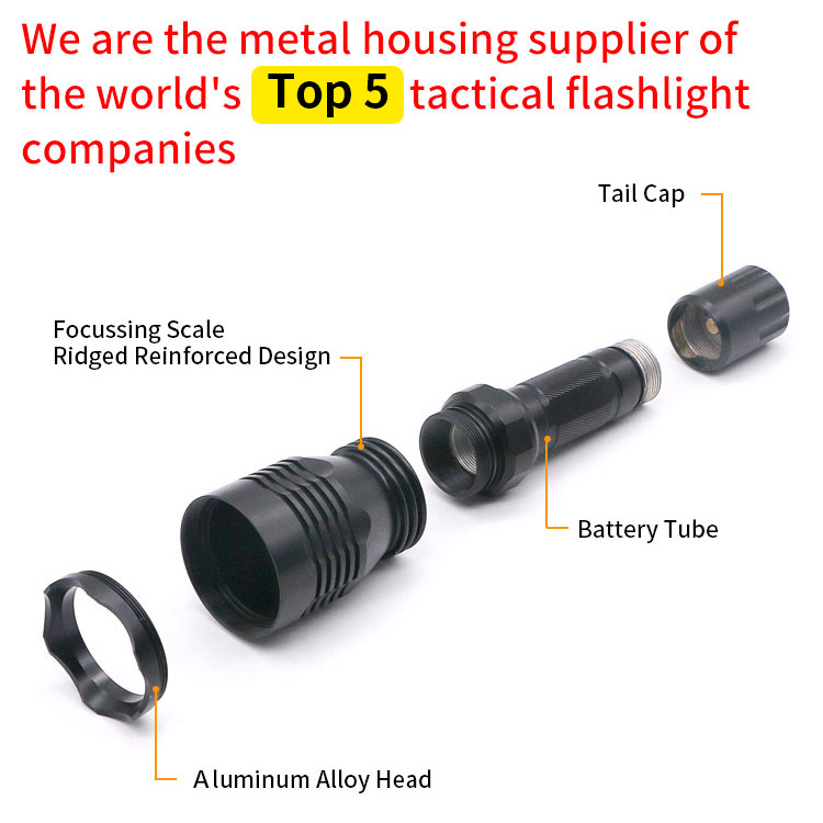CNC machined aluminum flashlight shells