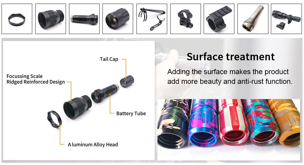 precision machining parts aluminum flashlight mount surface treatments